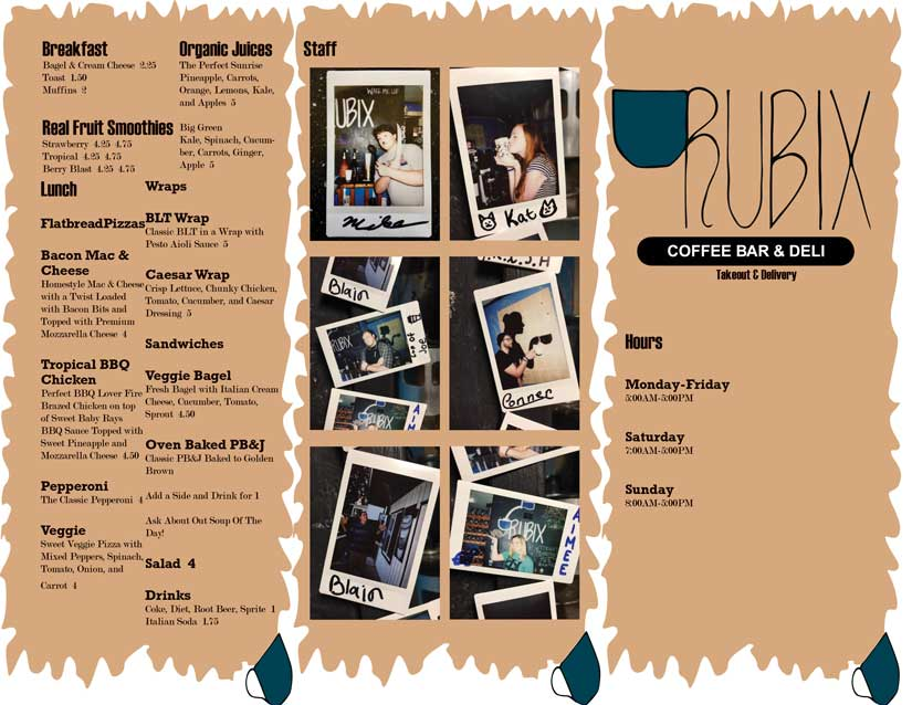 The first page of a brochure style menu for the Rubix Coffee Bar & Deli.