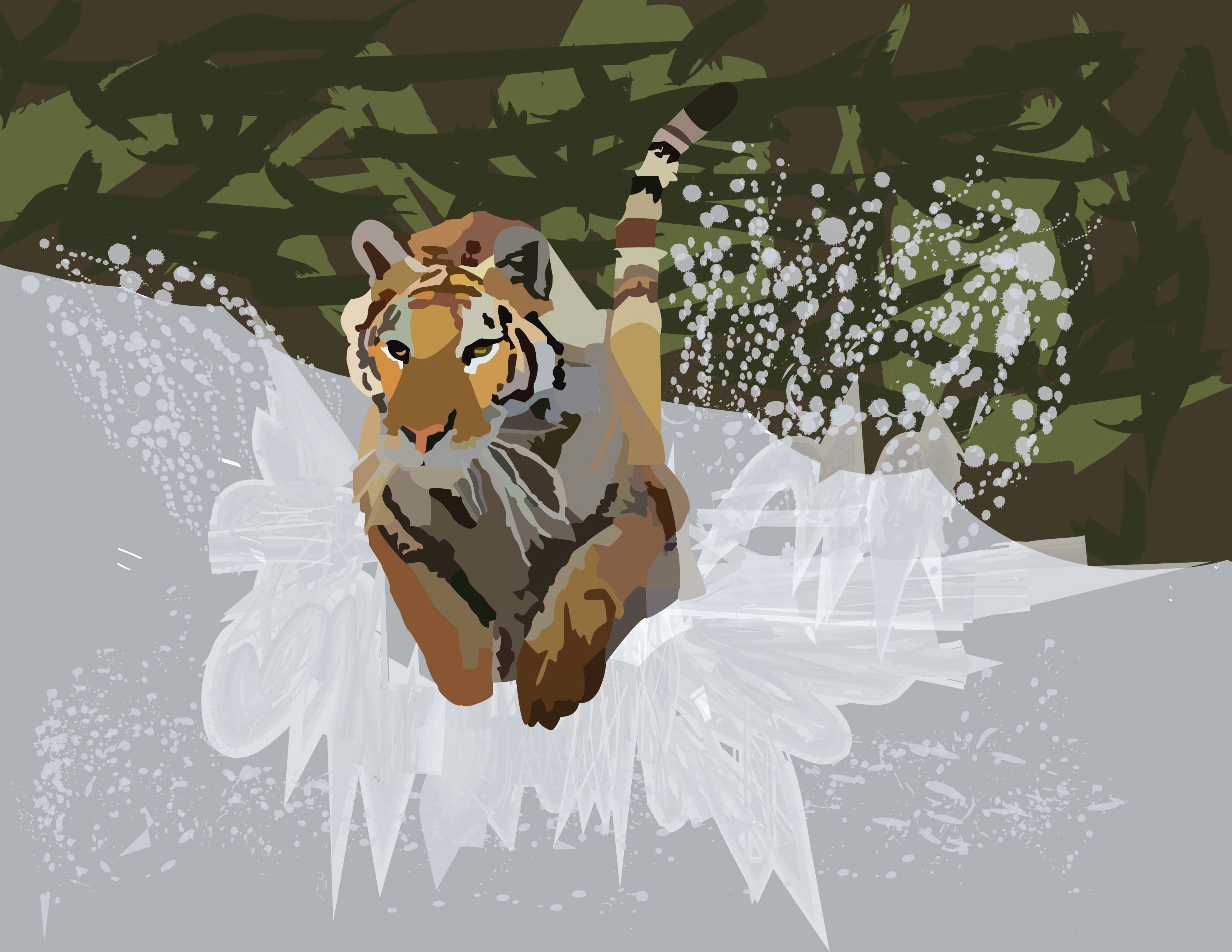 An illustration of a tiger in motion, running through water.