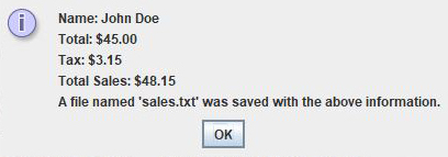 A screenshot of my sales calculator program, showing the results of the user's input.