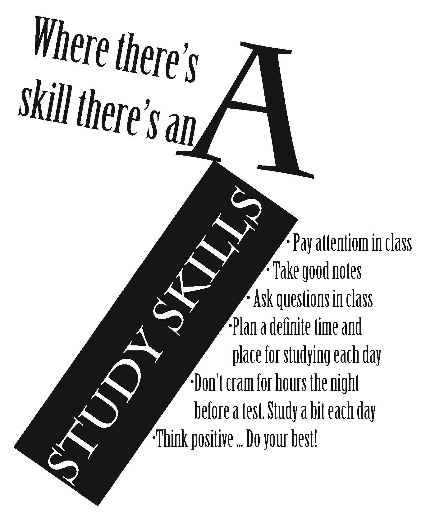 A poster promoting a list of study skills.