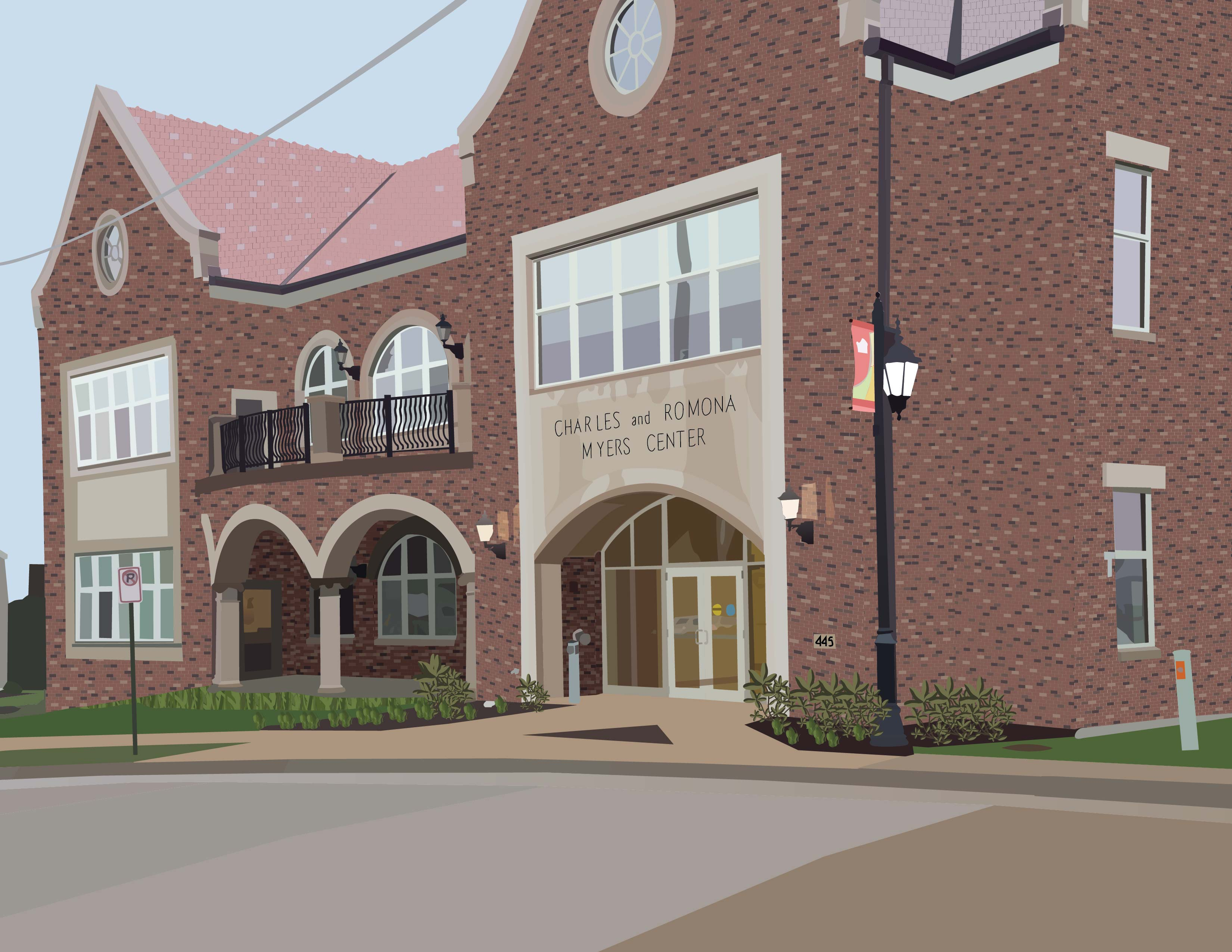 A detailed illustration of the Myers Center, located on the University of Dubuque campus.