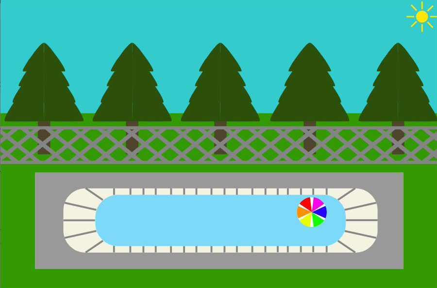 A still of an interactive greeting card, showing a sunny day time scene. With trees, a fence in front and a pool with a beach ball in front of the fence.