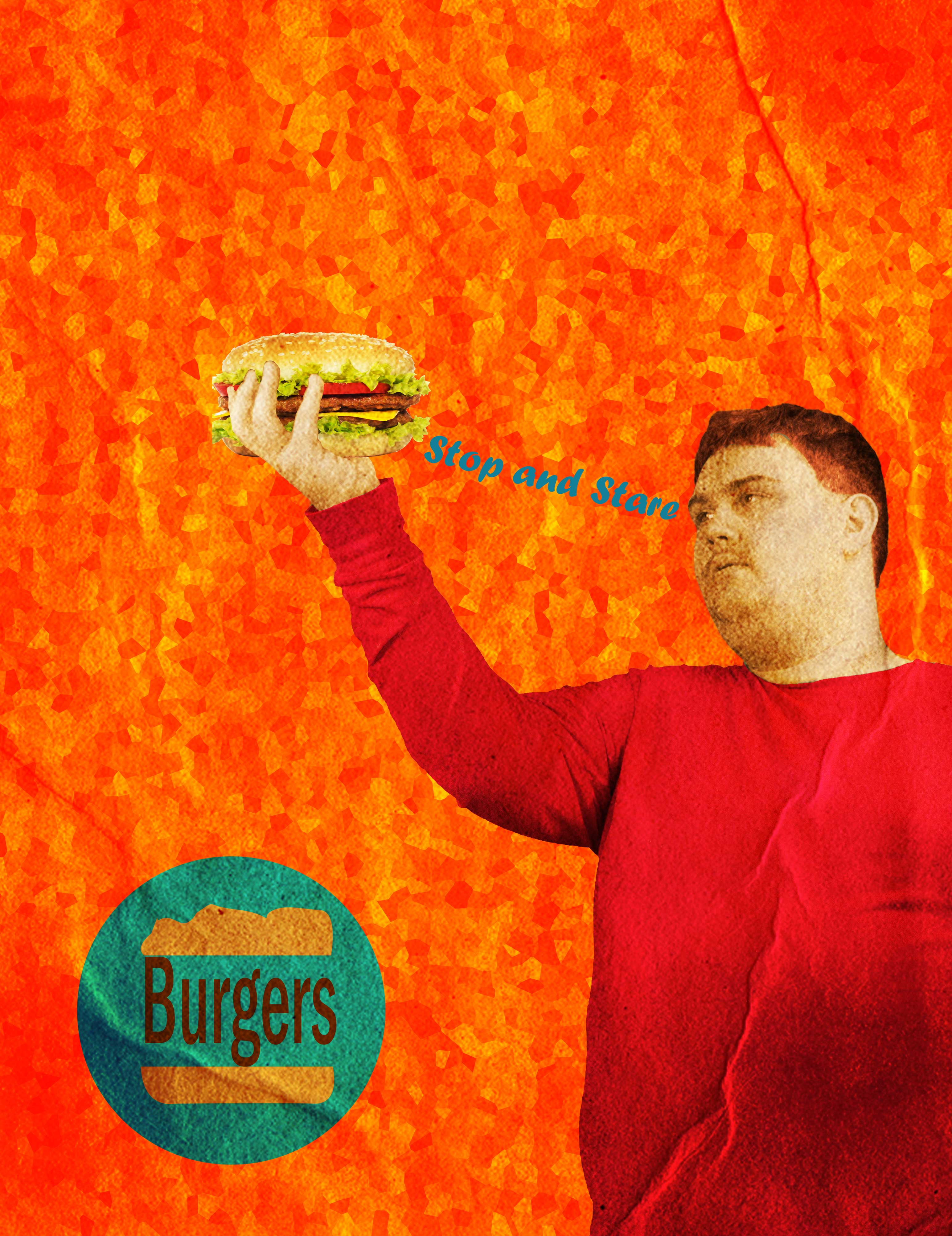 A burger ad featuring myself holding a burger with the words stop and stare between my eyes and the burger. This ad is supposed to emulate the look of an ad of the 50's/60's.
