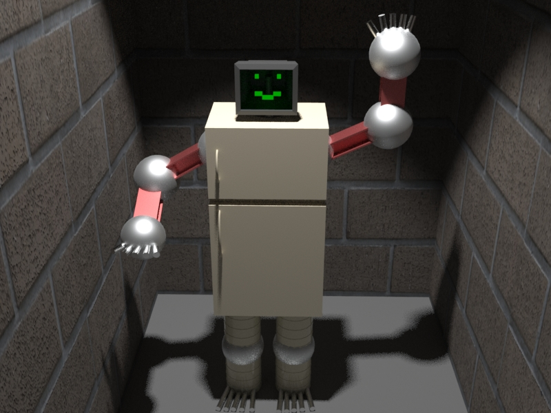 A robot made of miscellaneous parts. It has a computer monitor for a head, fridge for a body, i=beams for limbs, silver balls for joins, barrels for legs and metal rods for fingers and toes.