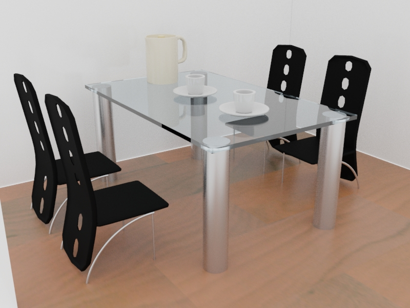 A glass table with four chairs around it. On top of the table is a pitcher and two cups.